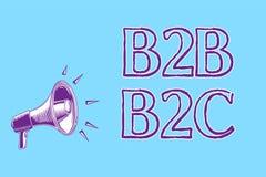 Texte B2B B2C d'écriture de Word Concept d'affaires pour deux types pour envoyer des emails à l'autre loudspeake de mégaphone de  Photo libre de droits