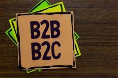 Texte B2B B2C d'écriture de Word Le concept d'affaires pour deux types pour envoyer des emails à d'autres comptes d'Outlook de pe images stock