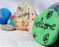 Texte bienvenu écrit sur la pierre peinte Image libre de droits