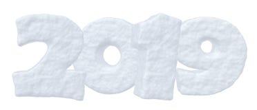 Texte blanc 2019 de neige de bonne année Illustration de Vecteur