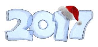 Texte bleu de glace de 2017 bonnes années avec le chapeau rouge illustration stock