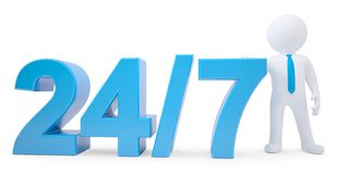 Texte bleu et homme 3d blanc. Vingt-quatre heures sur vingt-quatre 7 jours par semaine Image libre de droits