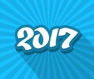 texte bleu tiré par la main de la couleur 2017 Photographie stock libre de droits