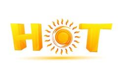 Texte chaud avec le soleil Photo stock