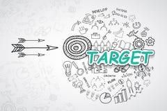 Texte cible, avec l'idée créative de plan de stratégie de réussite commerciale de diagrammes et de graphiques de dessin, templa d Photo libre de droits
