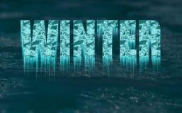 Texte congelé décoratif - hiver - avec des glaçons illustration libre de droits