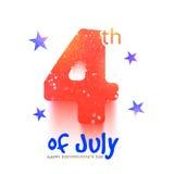 Texte créatif pour le Jour de la Déclaration d'Indépendance américain Image libre de droits