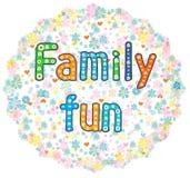Texte décoratif de lettrage d'amusement de famille Photographie stock libre de droits