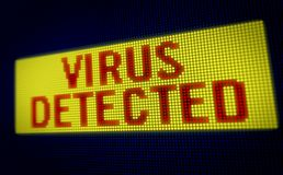Texte détecté par virus LED photographie stock libre de droits