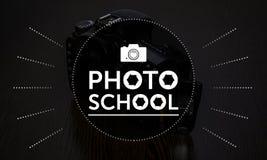 Texte d'école de photo, logo, art pour la conception Image stock