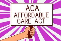 Texte d'écriture écrivant à ACA l'acte abordable de soin Signification de concept fournissant le traitement bon marché au patient illustration de vecteur