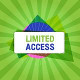 Texte d'écriture écrivant Access limité Signification de concept ayant accès limité à un nombre tout à fait petit de points Illustration Libre de Droits