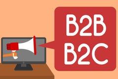 Texte d'écriture écrivant B2B B2C Le concept signifiant deux types pour envoyer des emails à d'autres comptes d'Outlook de person Image stock