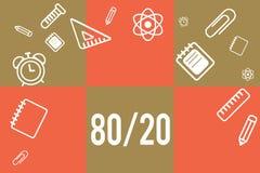 Texte d'écriture écrivant 80 20 Concept signifiant le principe de Pareto de la distribution statistique d'espacement de facteur d illustration libre de droits