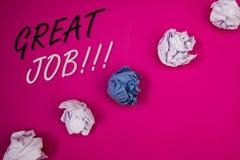 Texte d'écriture écrivant grand Job Motivational Call Concept signifiant l'excellent compliment bien fait de résultats de travail Photos stock