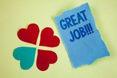 Texte d'écriture écrivant grand Job Motivational Call Concept signifiant l'excellent compliment bien fait de résultats de travail Photo stock