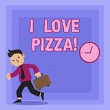 Texte d'écriture écrivant j'aime la pizza Signification de concept pour aimer la nourriture beaucoup italienne avec des pepperoni illustration de vecteur