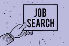 Texte d'écriture écrivant Job Search Concept signifiant un acte de personne pour trouver le travail adapté à sa main d'homme de p illustration stock