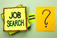 Texte d'écriture écrivant Job Search Recrue de recrutement d'emploi d'occasion d'offre d'emploi de carrière de découverte de sign Images libres de droits