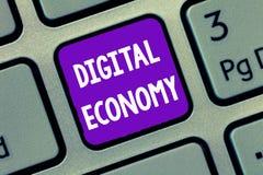 Texte d'écriture écrivant l'économie de Digital Concept signifiant le réseau mondial des activités économiques et des technologie illustration de vecteur