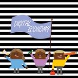Texte d'écriture écrivant l'économie de Digital La signification de concept se rapporte à un qui est basé sur des technologies in illustration libre de droits