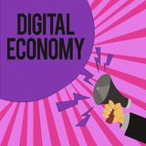 Texte d'écriture écrivant l'économie de Digital La signification de concept se rapporte à un qui est basé sur des technologies in illustration de vecteur