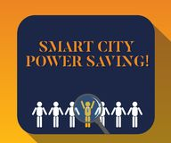 Texte d'écriture écrivant l'économie de puissance de Smart City La signification de concept a relié l'épargne technologique de l' photographie stock