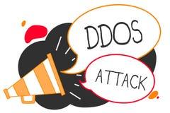 Texte d'écriture écrivant l'attaque de Ddos L'auteur de signification de concept cherche à faire à ressource du réseau le haut-pa illustration de vecteur