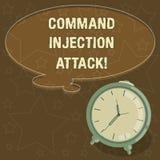 Texte d'écriture écrivant l'attaque d'injection de Comanalysisd Exécution de signification de concept des comanalysisds arbitrair illustration stock