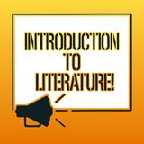 Texte d'écriture écrivant l'introduction à la littérature Mégaphone préparatoire de cours de composition en signification de conc illustration libre de droits