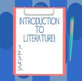 Texte d'écriture écrivant l'introduction à la littérature Page blanche de cours préparatoire de composition en signification de c illustration stock
