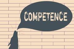 Texte d'écriture écrivant la compétence Concept signifiant la capacité de la connaissance de faire quelque chose avec succès effi illustration libre de droits