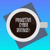 Texte d'écriture écrivant la défense proactive de Cyber Concept signifiant l'anticipation pour s'opposer à une attaque impliquant illustration libre de droits