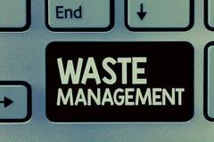 Texte d'écriture écrivant la gestion des déchets Les actions de signification de concept exigées contrôlent le commencement de dé photographie stock