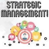 Texte d'écriture écrivant la gestion stratégique Élaboration de signification de concept et exécution de la photo principale de b illustration stock