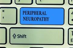Texte d'écriture écrivant la neuropathie périphérique État de signification de concept où le système nerveux périphérique est end image libre de droits