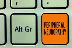 Texte d'écriture écrivant la neuropathie périphérique État de signification de concept où le système nerveux périphérique est end image stock