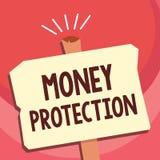 Texte d'écriture écrivant la protection d'argent La signification de concept protège le locataire de location d'argent paye au pr illustration de vecteur