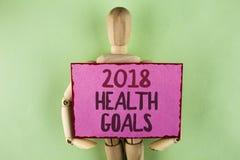 Texte d'écriture écrivant la santé 2018 Golas Concept signifiant des buts sains de résolution de nourriture de séance d'entraînem Photo stock