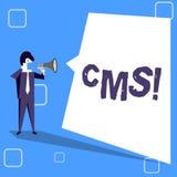 Texte d'écriture écrivant le CMS Concept signifiant la modification d'assistances techniques de gestion de contenu du contenu num illustration libre de droits