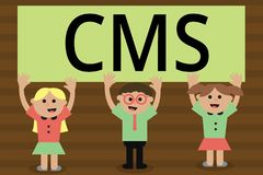 Texte d'écriture écrivant le CMS La signification de concept contrôle la création et la réforme de l'application logiciel du cont illustration libre de droits