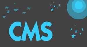 Texte d'écriture écrivant le CMS La signification de concept contrôle la création et la réforme de l'application logiciel du cont illustration de vecteur