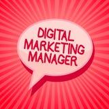 Texte d'écriture écrivant le directeur marketing de Digital Signification de concept optimisée pour signaler dans les conseils ou illustration libre de droits