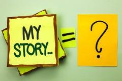 Texte d'écriture écrivant mon histoire Portfolio de profil d'histoire personnelle d'accomplissement de biographie de significatio Photo libre de droits