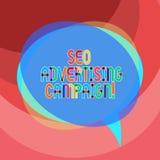 Texte d'écriture écrivant Seo Advertising Campaign Signification de concept favorisant un site pour augmenter le nombre de lien d illustration libre de droits