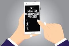 Texte d'écriture écrivant Seo Strategy Development Process L'optimisation de moteur de recherche de signification de concept déve illustration libre de droits