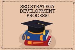 Texte d'écriture écrivant Seo Strategy Development Process Optimisation de moteur de recherche de signification de concept dévelo illustration stock