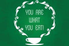 Texte d'écriture êtes vous ce que vous mangez E illustration de vecteur