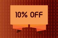 Texte d'écriture amortissant 10 Remise de signification de concept de dix pour cent au-dessus du dégagement de vente de promotion illustration de vecteur