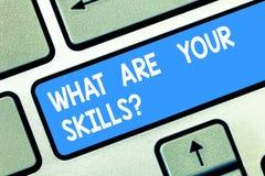Texte d'écriture ce qui sont votre Skillsquestion La signification de concept nous indiquent votre clé de clavier d'expérience de image libre de droits